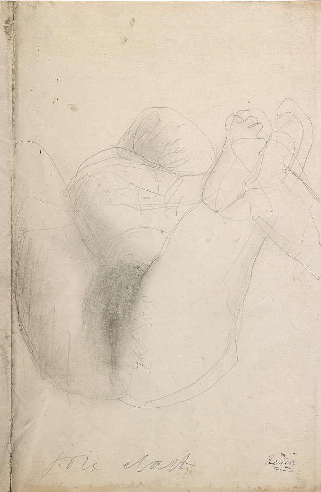 Augustin Rodin | Joie - Écarts - Femme couchée, jambes écartées - vers 1900 - Graphite et estompe sur vélin
