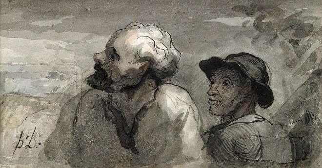 Honore Daumier - Deux têtes