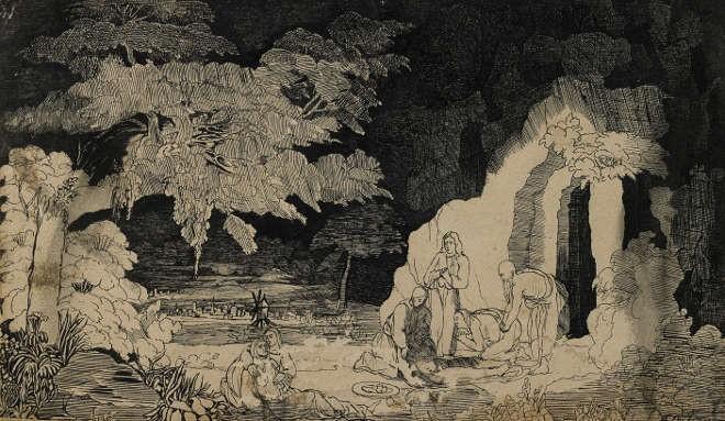 Rodolphe Bresdin - Mise au tombeau - Plume et encre de chine