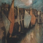 Alfredo Müller. Le vieux port du Pollet à Dieppe. 1898-1903. Eau-forte et aquatinte en couleurs. Catalogue raisonné E68.